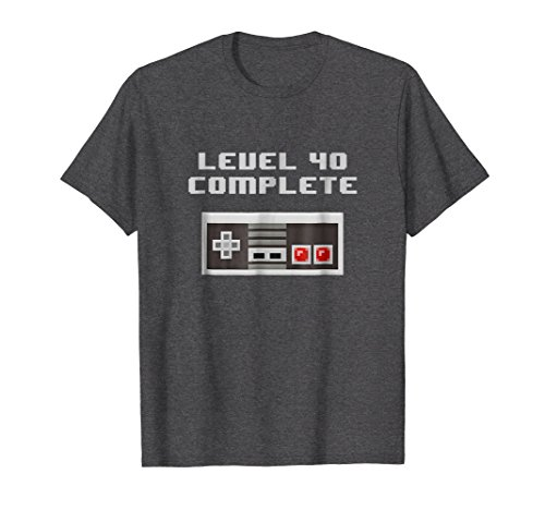 Fun Womens Dark T-shirt - Mens Level 40 Complete retro video games 40th Birthday Fun TShirt Medium Dark Heather