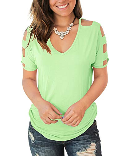 Jescakoo Solid Color Cold Shoulder Womens Tshirts Loose fit Tops Tees Grass Green XL