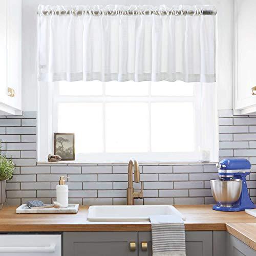 XWTEX Off White SheerCurtains Valance Semi Sheer WindowCurtain for Kitchen/Café Window Curtains Rod Pocket (W60 x L16, 1 Panel) (White Sheers Off Window)