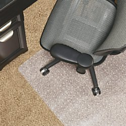 Realspace(R) Berber Chair Mat For Low-Pile Carpets, Studded, 46in.W x 60in.D, No Lip, Clear by Realspace
