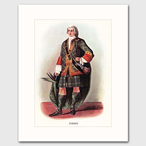 [Forbes Clan, Highlands Dress Art w/Mat (Scottish Family Name Wall Decor) --- Matted Print] (1800s Dresses Costumes)