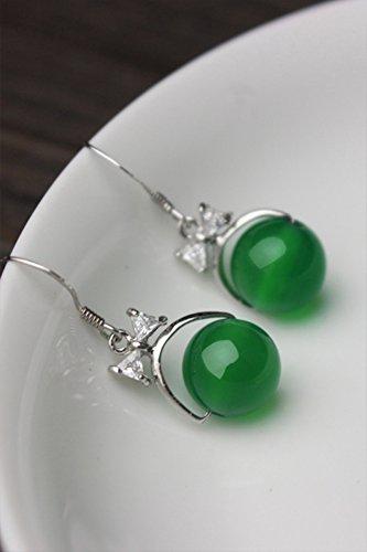 Chalcedony Link Earrings - Creative Earrings Earring Dangler Eardrop Short Road Through Green Chalcedony Necklace Pendant Clavicle Chain Women Girls Sterling Silver (passepartout Green Chalcedony Earrings
