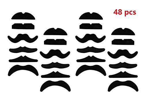 [48pack BeautyMood Novelty Fake Mustache Mustaches Novelty & Toy - Fancy Dress Party Self Adhesive yellow By Allures &] (Fake Mustache Kit)