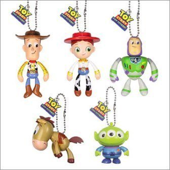 Disney Toy Story 3 Gacha Swinging Figure Set of 5 Includes Buzz Lightyear , Woody , Jessie , Bullseye & Squeeze Alien image