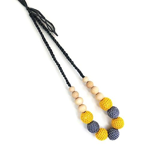 Natural Wooden Baby Teething Necklace, Handmade, no BPA, Infant Teether Relief, Nibbler Ring Toy with Raw Beads For Babies, Boys, Girls (Yellow)