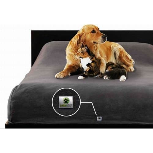 Paws Off Fleece Protective Bed Cover - Charcoal Color fits Queen Size Bed by None chic