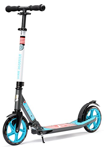 STAR-SCOOTER Original Pro Sport Big Wheel Push Kick Scooter Foldable for Adults, Teens and Kids age 7 years   205mm Premium Cruiser Edition   Grey & Blue
