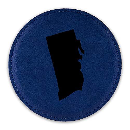 Rhode Island Shaped Drink Coaster Leatherette Round Coasters RI - Blue - One Coaster