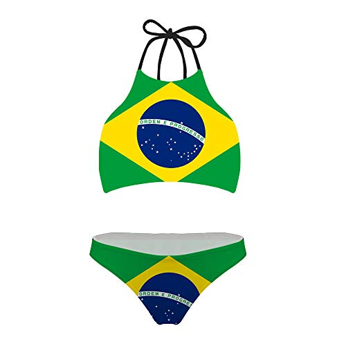 (chaqlin Womens Swimsuits Flag of Brazil Sexy Bikinis Swimwear Women¡¯s Bikini Set Tie Halter Padding Quick Dry M)