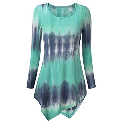 Henleys,Toimoth Fashion Women Long Sleeve O-Neck Print Loose Tops T-Shirt Blouse Tunics(Green,L) - Grandad Neck T-shirt