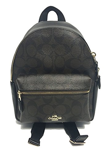 Coach Mini Charlie Pebble Leather Backpack (Brown/Black)