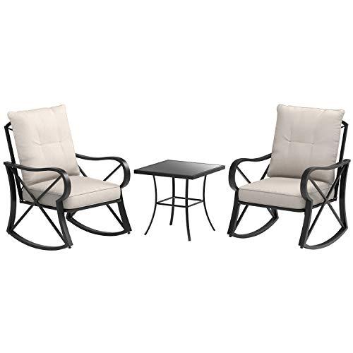 AmazonBasics 3-Piece Patio Steel Rocking Chair Set