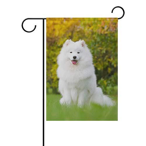 BlueViper Samoyed Dog Posing Garden Flag Banner 12 x 18 Inch Decorative Garden Flag for Outdoor Lawn and Garden Home Décor Double-Sided ()