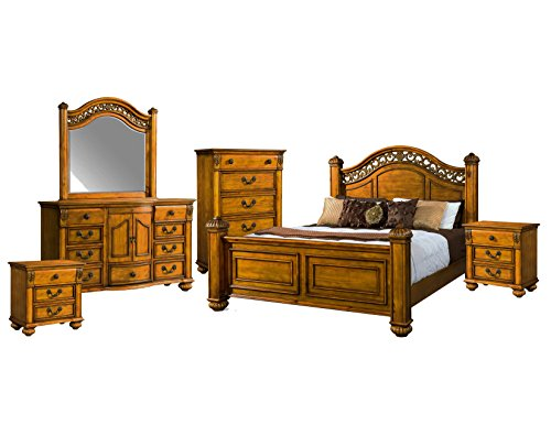 Finished Poster Bed (Abbey Avenue B-ASH-K6P 6 Piece Ashton Poster Bedroom Set, King, Oak)