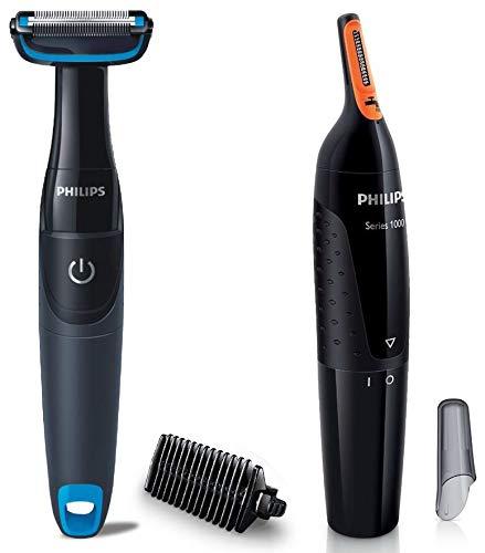 Philips BG1025/15 Showerproof Body Groomer for Men & Philips NT1150/10 Nose Trimmer (Black)