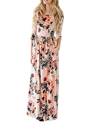 union-fashion-ltd-womens-spring-fashion-printed-long-dress-three-quarter-sleeve-empire-flower-floor-