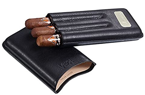 Personalized 3 Finger Leather Visol Cigar Case with Engraved Plate - Personalized Cigar Case