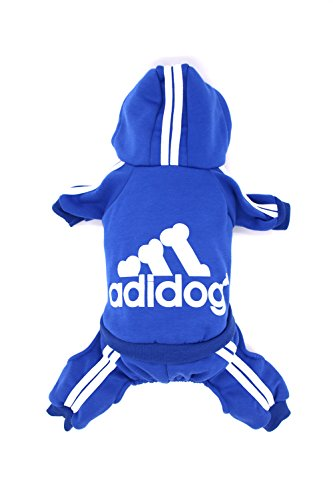 Video Costume Dog Tarantula (Dorapocket Adidog Pet Sports Clothes Hoodies Dog Cat 4 Legged Jacket for Cold Weather Warm,Blue)