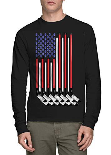 HAASE UNLIMITED Long Sleeve Men's Hockey Sticks American Flag Shirt (Black, X-Large)