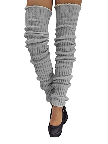 Leg Warmers Acrylic (Light Gray Slouchy Thigh High Knit Dance Leg Warmers)