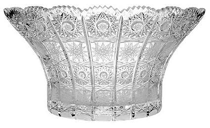 Wedding Gift Vintage Deep Fruit Platter with Scalloped Edges Decorative Candy//Snacks Deep Dish Aurum Crystal AU51440 12 Dia Centerpiece Bowl with Geometrical Crystal Cut Design