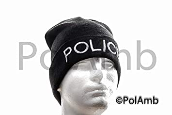 Black Beanie Woolly Hat Embroided Police  Amazon.co.uk  Sports ... 7883a83fb87b