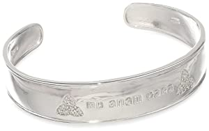 "Sterling Silver Diamond Celtic ""Mo Anam Cara"" Bangle, 7"" (1/5 cttw, J-K Color, I2-I3 Clarity) by Amazon Curated Collection"