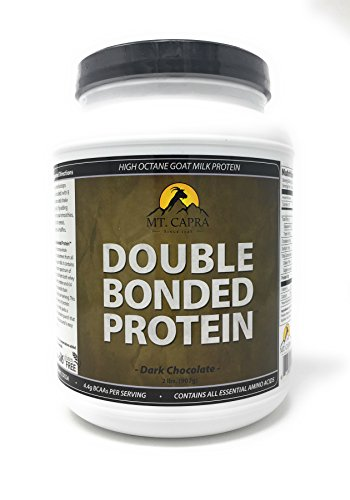 (Double Bonded Protein by Mt. Capra | Whole Goat Milk Protein with Natural Blend of Casein and Whey from Grass-fed Pastured Goats, Dark Chocolate Flavor - 2 Pounds)