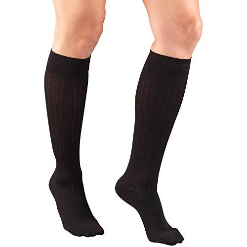 Truform Women's 15-20 mmHg Compression Dress Socks with Ribbed Pattern, Black, Medium