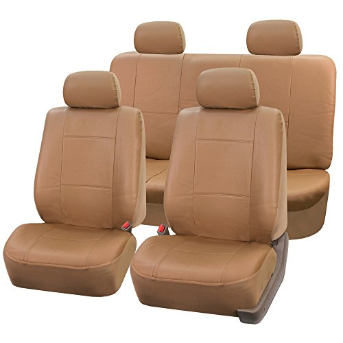 FH Group PU001114 Classic Synthetic Leather Beige Car Seat Covers - Fit Most Car, Truck, SUV, or ()
