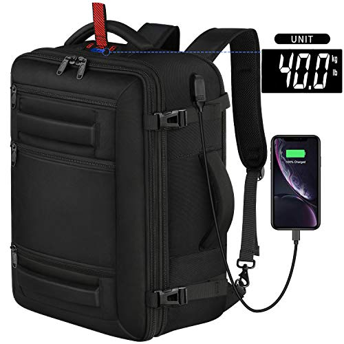 40L Carry on Flight Approved Travel Backpack, 18 inch TSA Laptop Backpack with Digital Scale USB Port Expandable Water Resistant Weekender Bag for Men Women