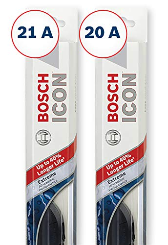 Bosch ICON Wiper Blades (Set of 2) Fits 1999-94 Toyota Celica; 1996-91 Dodge Stealth; 2002-95 Mazda Millenia & More, Up to 40% Longer Life