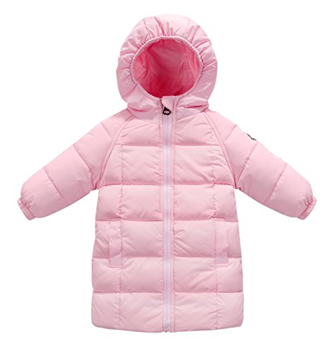 Happy Cherry Baby Girls Winter Hooded Coat Zipper up Puffer Outwear Windproof Thicken Down Jacket 1-2T Pink by Happy Cherry (Image #8)