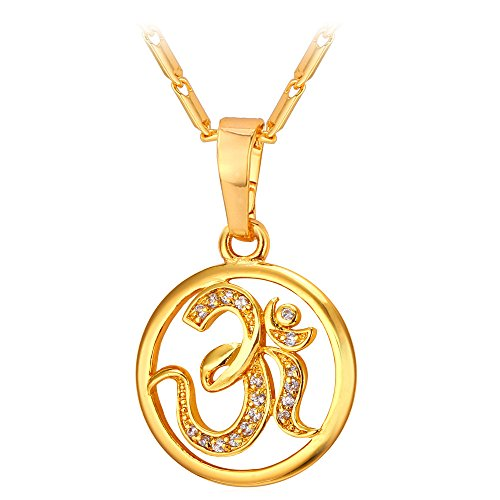U7 Brand AUM OM Pendant Charm Necklace India Hinduism Jewelry 18K Gold Plated Amulet Necklace