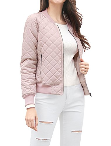 Allegra K Women Quilted Zip Up Raglan Sleeves Bomber Jacket S Pink 41TfvCM3M6L