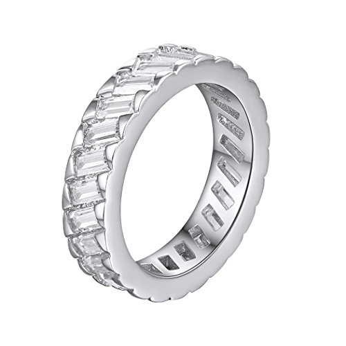 White Gold Platinum Rings (Eternity Ring AAA+ Cubic Zirconia Ring Wedding/Engagement Channel Setting Ring Platinum Plated Ring For Women White Gold, Size 7)