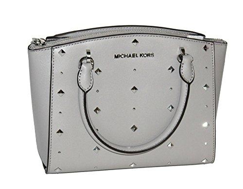 MICHAEL Michael Kors Women's ELLIS Small Satchel Studded Leather handbag (Pearl Grey) by MICHAEL Michael Kors