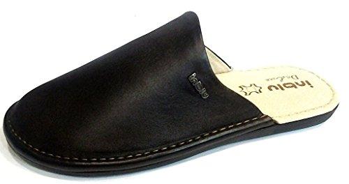 INBLU - Zapatillas de estar por casa de piel sintética para hombre marrón marrón 43