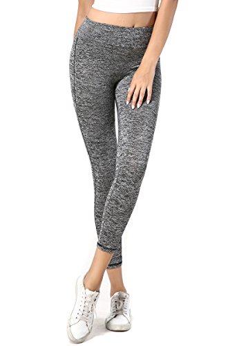 Premium Women's Ultra Soft Comouflage Flex High Waist Basic Leggings, Full Length Sports Running Tights Long Capri Workout Foldover Yoga Pants Plus Size & Petite For Women (M, Grey)