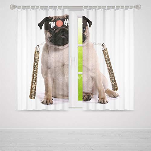 C COABALLA Windows Blackout Curtain,Pug,Living Room Bedroom Curtain,Ninja Puppy with Nunchuk Karate Dog Eastern Warrior Inspired Costume Pug Image Decorative2 Panel Set,103W X 83L Inches ()
