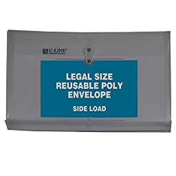 C-Line Reusable Poly Envelopes with String Closures, 1-Inch Gusset, Side Load, Legal Size, Smoke Gray, 5 Envelopes per Pack (58041)