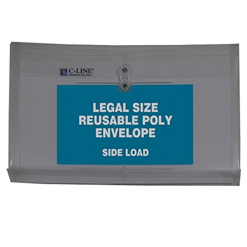 - C-Line Reusable Poly Envelopes with String Closures, 1-Inch Gusset, Side Load, Legal Size, Smoke Gray, 5 Envelopes per Pack (58041)