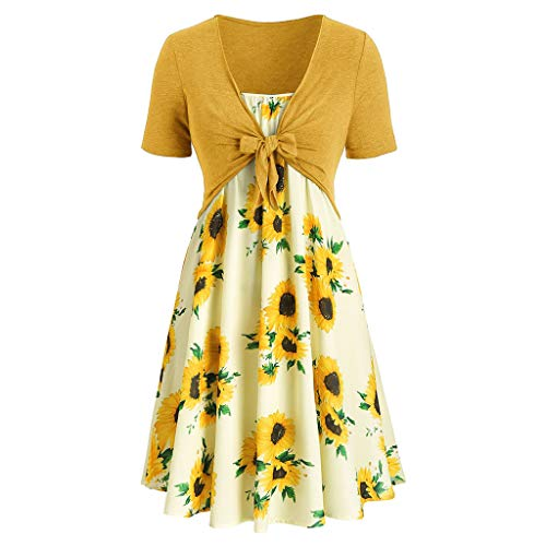 Toponly 2Pcs Women's Short Sleeve Bow Knot Bandage Tops Cardigan+Sunflower Print Mini Dress Suits]()