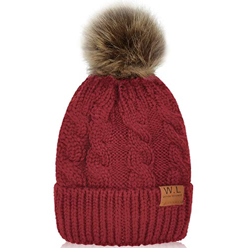 Kid Beanie Hats Lining Pom Pom for Children -Slouchy Cable Knit Toddler Skull Hat Baby Ski Cap for Girls Boys (Red)