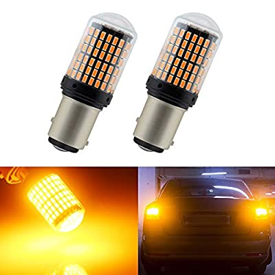EverBright 1157 Led Bulb Brake Light, Canbus No Hyper Flash BAY15D 7528 2057 1034 1016 Replacement for Camper Trailer MPV Brake Led Bulb Amber, 3014 Chipset 144SMD 2800 Lumen(Pack of 2): Automotive