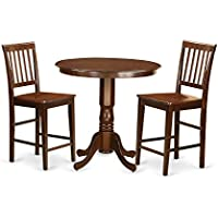 East West Furniture JAVN3-MAH-W 3 Piece High Top Table and 2 Chairs Set