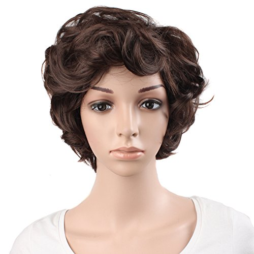 Short Brown Wig (MapofBeauty 30cm/ 12 inch Elderly Curly Short Curly Fashion Wigs(Dark Brown))