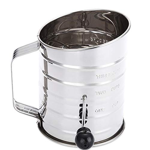 Flour Sifter Hand-Crank,3 Cups Flour Sifter Sieve 4-Wire Agitator Cakes,Pies,Pastries,Cupcakes Sugar Duster Sifter Stainless Steel Home Kitchen Use (Silver)