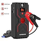 1200A Peak Car Jump Starter (up to 6.5L Gas, 5.0L Diesel Engine), Portable Auto Battery Booster Power Bank and Phone Charger with Quick Charge 3.0 and Built-in LED Flashlight