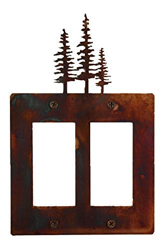 (Decorative Rustic Finish Steel Decora Rocker Style Light Switch Cover/Wall Plate - Double Switch, Pines)
